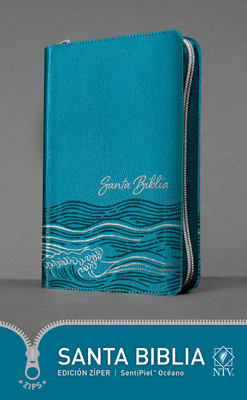 Santa Biblia Ntv, Edición Zíper, Océano (Sentipiel, Azul Claro) Cover Image