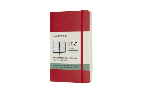 Moleskine 2021 Weekly Planner, 12M, Pocket, Scarlet, Soft Cover (3.5 x 5.5) Cover Image