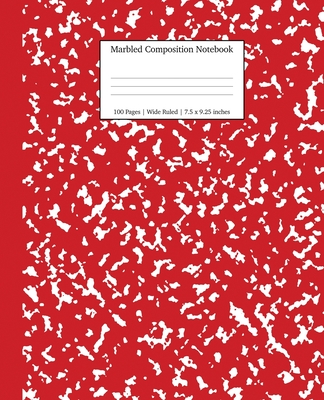 Marbled Composition Notebook: Red Marble Wide Ruled Paper Subject Book Cover Image
