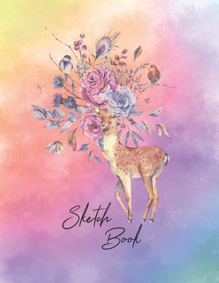 Sketchbook: Activity Sketch Book Watercolor Abstract Painting Instruction Large 8.5 x 11 Inches with 110 Pages (Deer Watercolor Ca Cover Image
