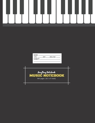 Music Notebook - AmyTmy Notebook -100 pages - 8.5 x 11 inch - Matte Cover Cover Image