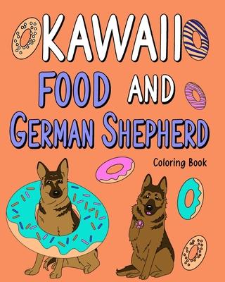 Kawaii Food and German Shepherd Coloring Book Cover Image