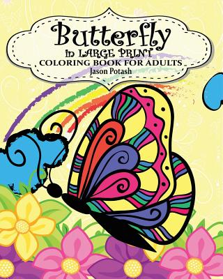 Butterfly in Large Print Coloring Book for Adults Cover Image