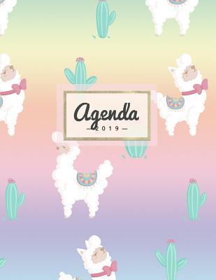 Agenda 2019: Semanal Diario Organizador Calendario - Rainbow Alpaca Y Cactus Cover Image