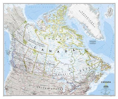 National Geographic: Canada Classic Wall Map - Laminated (38 X 32 Inches) Cover Image