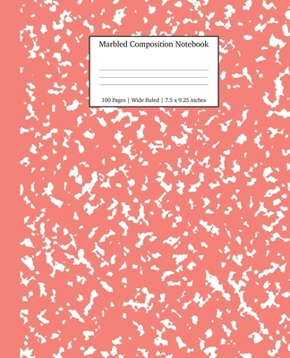 Marbled Composition Notebook: Coral Pink Marble Wide Ruled Paper Subject Book Cover Image