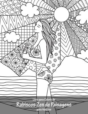 Livro para Colorir de Rabiscos Zen de Paisagens para Adultos Cover Image