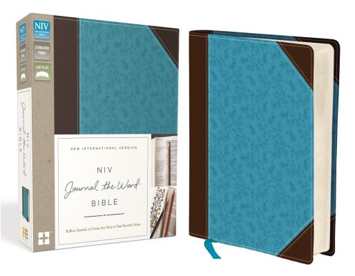 NIV, Journal the Word Bible, Imitation Leather, Brown/Blue: Reflect, Journal, or Create Art Next to Your Favorite Verses Cover Image