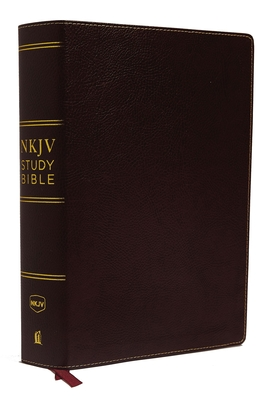 NKJV Study Bible, Premium Bonded Leather, Burgundy, Red Letter Edition, Comfort Print: The Complete Resource for Studying God's Word Cover Image