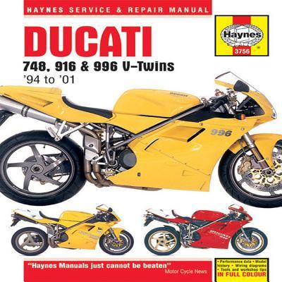 Ducati 748, 916 & 996 V-Twins 1994 to 2001 (Haynes Service & Repair Manual) Cover Image