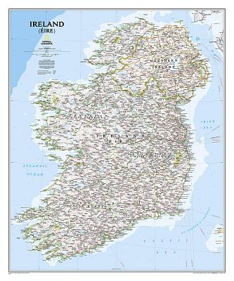 National Geographic: Ireland Classic Wall Map - Laminated (30 X 36 Inches) Cover Image
