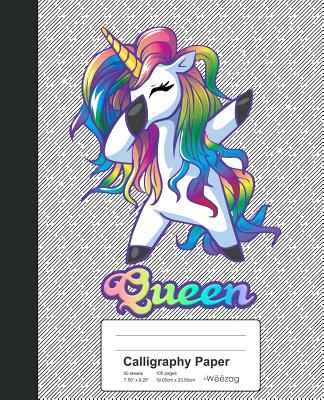 Calligraphy Paper: QUEEN Unicorn Rainbow Notebook Cover Image