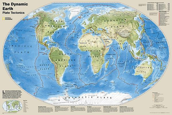 National Geographic: The Dynamic Earth, Plate Tectonics Wall Map - Laminated (Poster Size: 36 X 24 Inches) Cover Image