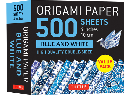 Origami Paper 500 Sheets Blue and White 4 (10 CM): High-Quality Double-Sided Origami Sheets Printed with 12 Different Designs Cover Image
