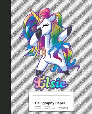 Calligraphy Paper: ELSIE Unicorn Rainbow Notebook Cover Image