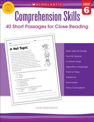 Comprehension Skills: Short Passages for Close Reading: Grade 6 Cover Image