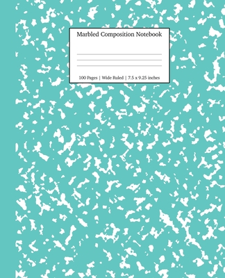 Marbled Composition Notebook: Turquoise Marble Wide Ruled Paper Subject Book Cover Image