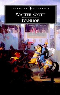 """Book cover: Ivanhoe by Walter Scott.  Below a panel with the title, author, and the text """"Penguin Classics"""" is an illustration of two figures on horses.  The red figure points a lance at the blue figure, who leans back on his horse. Behind the two there in a man holding banners, and audience members in tall lavender stands."""