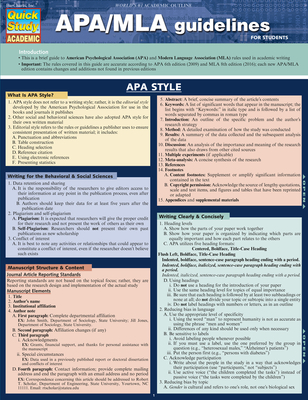 Apa/MLA Guidelines (Quick Study: Academic) Cover Image