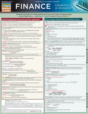 Finance Equations & Answers (Quickstudy: Academic) Cover Image