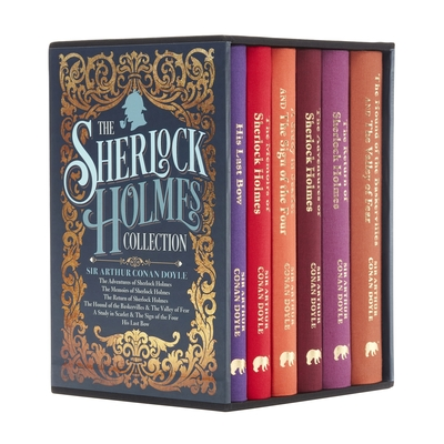 Book cover: A boxed set of Sherlock Holmes. On the cover is the silhouette of a face smoking a hat, as well as gold decoration, and the visible spines of the books are brightly colored.