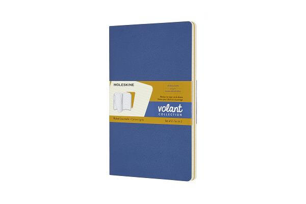 Moleskine Volant Journal, Large, Ruled, Forget-Me-Not Blue/Amber Yellow (5 x 8.25) Cover Image