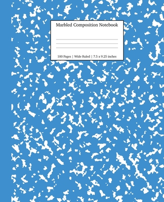 Marbled Composition Notebook: Blue Marble Wide Ruled Paper Subject Book Cover Image