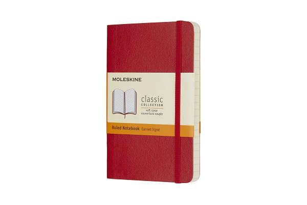 Moleskine Classic Notebook, Pocket, Ruled, Scarlet Red, Soft Cover (3.5 x 5.5) Cover Image