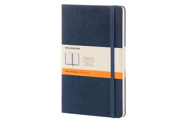 Moleskine Classic Notebook, Large, Ruled, Sapphire Blue, Hard Cover (5 x 8.25) Cover Image