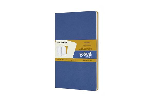 Moleskine Volant Journal, Large, Plain, Forget-Me-Not Blue/Amber Yellow (5 x 8.25) Cover Image