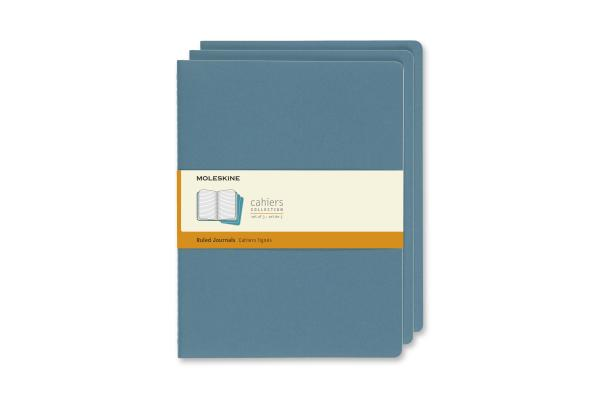 Moleskine Cahier Journal, Extra Large, Ruled, Brisk Blue (7.5 x 9.75) Cover Image