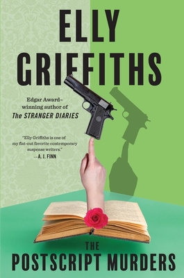Book cover: The Postscript Murders.  In front of a green background, a White hand emerges from an open book.  At the intersection between hand and book is a rose, and balancing on the finger's tip is a gun.