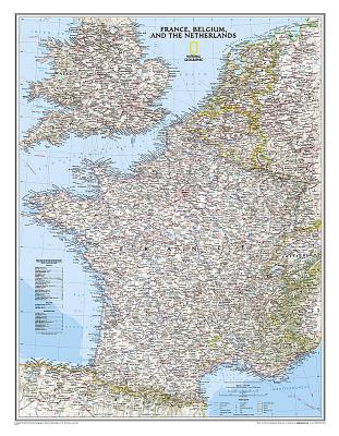National Geographic: France, Belgium, and the Netherlands Classic Wall Map - Laminated (23.5 X 30.25 Inches) Cover Image