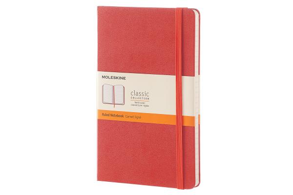 Moleskine Classic Notebook, Large, Ruled, Coral Orange, Hard Cover (5 x 8.25) Cover Image