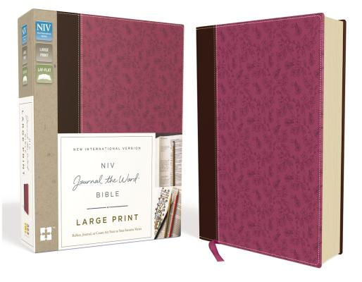 NIV, Journal the Word Bible, Large Print, Imitation Leather, Pink/Brown: Reflect, Journal, or Create Art Next to Your Favorite Verses Cover Image