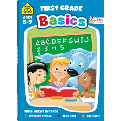 School Zone First Grade Basics 96-Page Workbook Cover Image