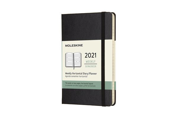 Moleskine 2021 Weekly Horizontal Planner, 12M, Pocket, Black, Hard Cover (3.5 x 5.5) Cover Image