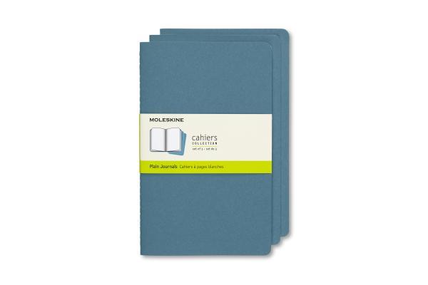 Moleskine Cahier Journal, Large, Plain, Brisk Blue (8.25 x 5) Cover Image