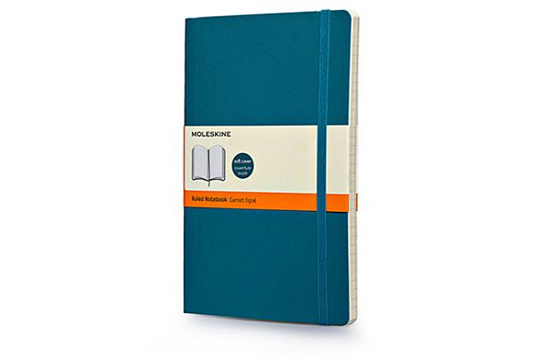Moleskine Classic Colored Notebook, Large, Ruled, Underwater Blue, Soft Cover (5 x 8.25) Cover Image