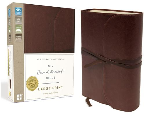 NIV, Journal the Word Bible, Large Print, Genuine Leather, Brown: Reflect, Journal, or Create Art Next to Your Favorite Verses Cover Image