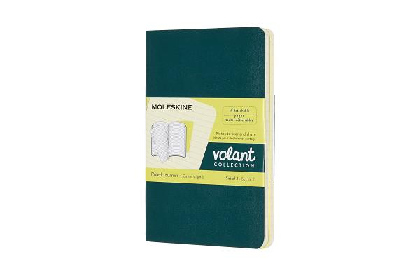 Moleskine Volant Journal, Pocket, Ruled, Pine Green/Lemon Yellow (3.5 x 5.5) Cover Image