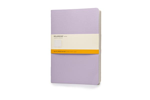 Moleskine Cahier Journal (Set of 3), Extra Large, Ruled, Persian Lilac, Frangipane Yellow, Peach Blossom Pink, Soft Cover (7.5 x 10) (Cahier Journals) Cover Image