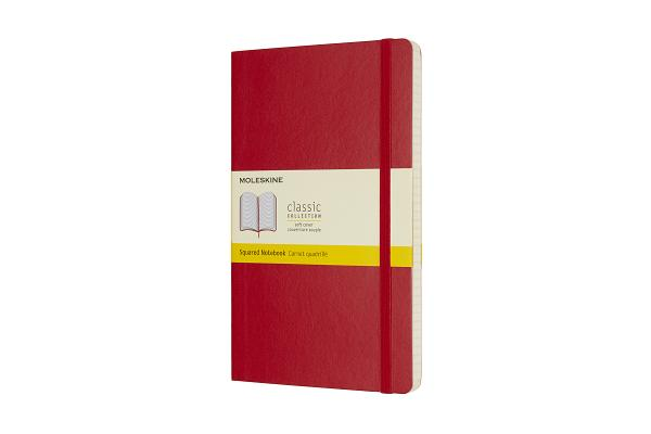 Moleskine Classic Notebook, Large, Squared, Scarlet Red, Soft Cover (5 x 8.25) Cover Image