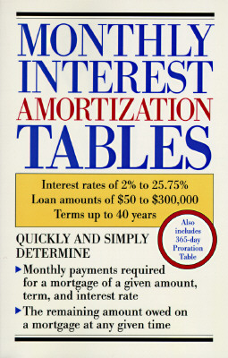 Monthly Interest Amortization Tables: Interest Rates of 2% to 25.75%, Loan Amounts of $50 to $300,000, Terms Up to 40 Years Cover Image
