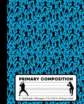 Primary Composition: Baseball Player Blue Marble Composition Book for boys or girls K-2. Sports notebook handwriting paper. Primary ruled - Cover Image