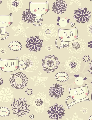 Graph Paper Notebook: Quad Ruled Graphing Paper, 200 Pages, Cute Cat and Floral Pattern (8.5x11) Cover Image