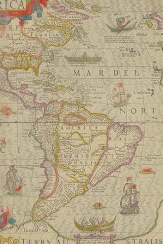 Cover for North America / South America Vintage Map Field Journal Notebook, 50 pages/25 sheets, 4x6