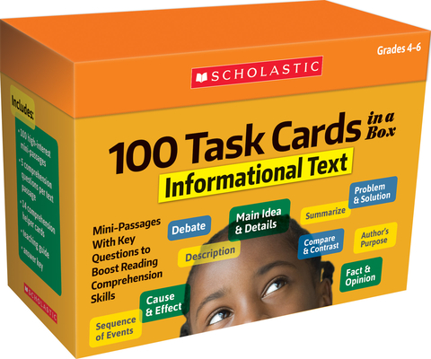 100 Task Cards in a Box: Informational Text: Mini-Passages With Key Questions to Boost Reading Comprehension Skills Cover Image