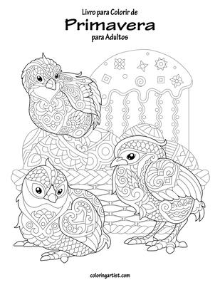 Livro para Colorir de Primavera para Adultos Cover Image