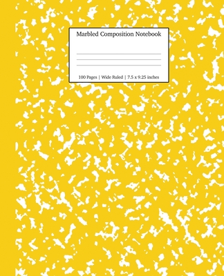 Marbled Composition Notebook: Yellow Marble Wide Ruled Paper Subject Book Cover Image